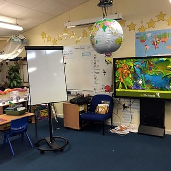 4K interactive touch screen in classroom