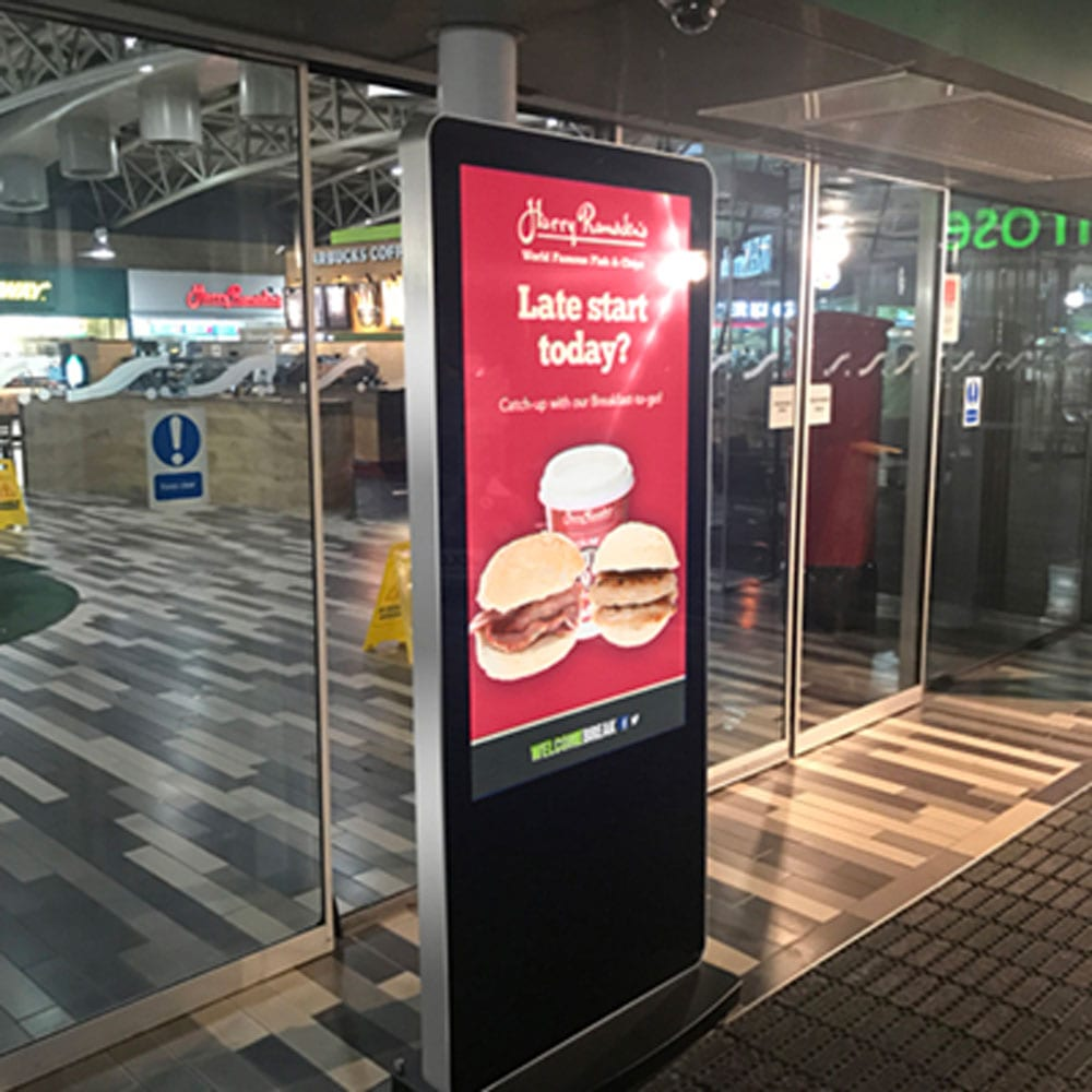 led slimline freestanding digital signage posters kiosks totems standalone plug and play 14