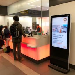 led slimline freestanding digital signage posters kiosks totems standalone plug and play 28