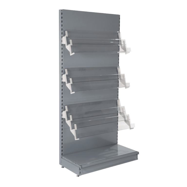 magazine shelving grey
