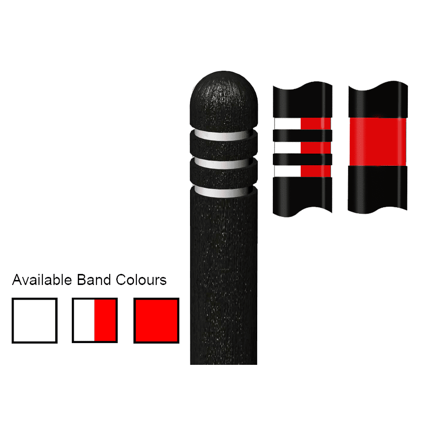 Recycled Plastic Black Dome Top Bollard variations